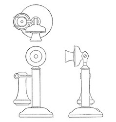Orthographic projection of candlestick telephone vector