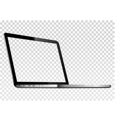 Perspective view of laptop with transparent screen vector