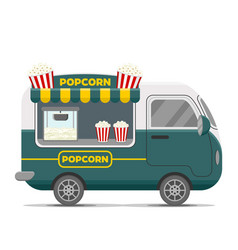 Popcorn street food caravan trailer vector