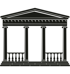 portico of ancient temple with balustrade vector image
