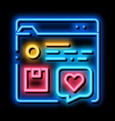 Review internet shop web site neon glow icon vector