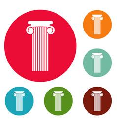 Roman column icons circle set vector