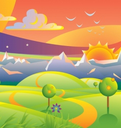 scenic sunset landscape vector illustration vector image