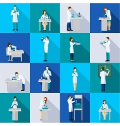 scientist person flat set vector image
