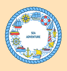 sea adventure round concept with ship icons in vector image