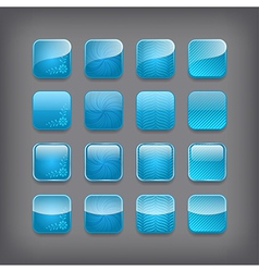 set blank blue buttons vector image