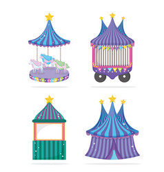set circus traditional event entertainment vector image