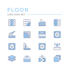Set color line icons floor vector