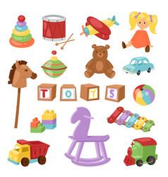 set different cartoon kids toys vector image