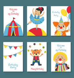 set of birthday card set of birthday card vector image