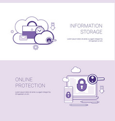set of information storage and online protection vector image