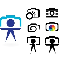 set of stylized photo cameras vector image
