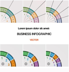 Set quarter ring chart template with text areas on vector