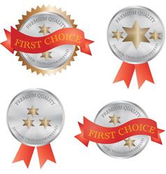 Silver metal product quality badge vector