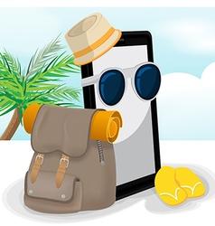 Smartphone Mobile Travel Adventurer Backpack vector