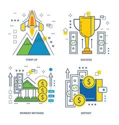 startup success payment methods deposit vector image vector image