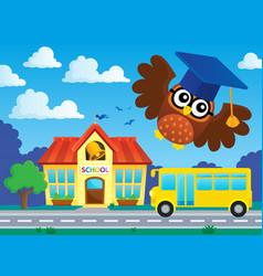 Stylized school owl theme image 2 vector