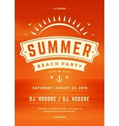 Summer holidays beach party typography poster vector