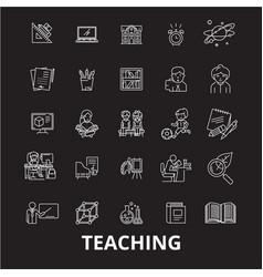teaching editable line icons set on black vector image