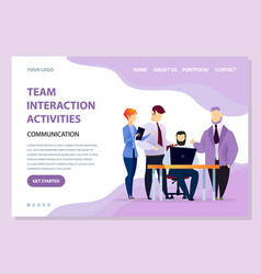 team interaction activities coders with laptop vector image