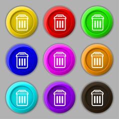 trash icon sign symbol on nine round colourful vector image