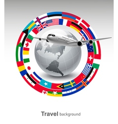 Travel background Globe with a plane and a circle vector image
