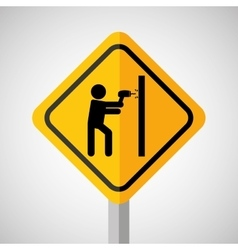 Under construction road sign making hole wall vector