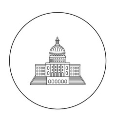 united states capitol icon in outline style vector image