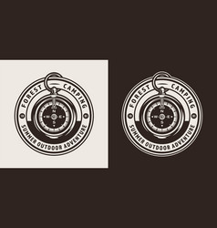 Vintage forest camping round badge vector