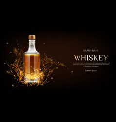 Whiskey bottle mockup flask with strong drink vector