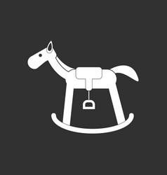 White icon on black background kids rocking horse vector