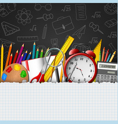 whiteboard background with school supplies vector image