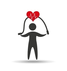 athlete silhouette heart jump rope vector image vector image