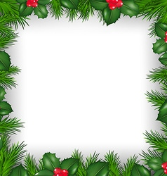 Christmas Border From Holly Berry vector image