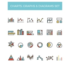 Diagram and graphs color line icons vector image vector image