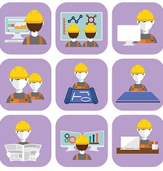 Engineer construction manufacturing worker flat vector image vector image