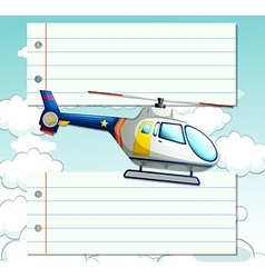 Line paper design with helicopter flying vector image vector image