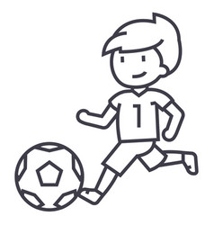 soccerboy playing football line icon sign vector image