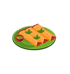 Three Tacos On Plate vector image vector image