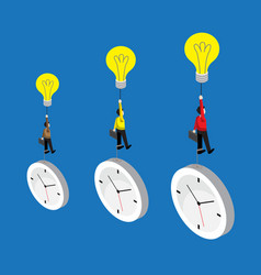 businessman flying by bulb idea and weight with vector image vector image