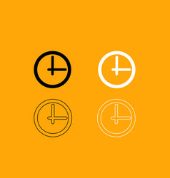 clock black and white set icon vector image vector image