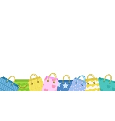 Cute shopping bag banner Colorful bags with vector image