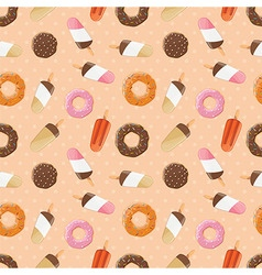 Seamless pattern with ice cream and donuts vector image