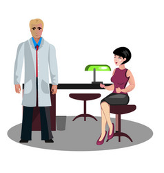 woman at a reception with a doctor vector image