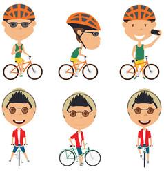 bicycle rider boys vector image vector image