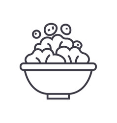 salad bowl line icon sign on vector image