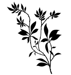 Tree branches silhouette with lot of leaves vector image