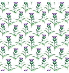 Watercolor milk thistle herb seamless pattern vector image vector image