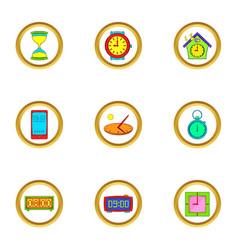 Clock icons set cartoon style vector