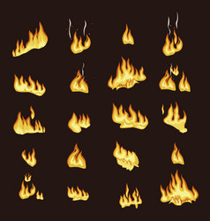 fire flame signs collection on dark background vector image